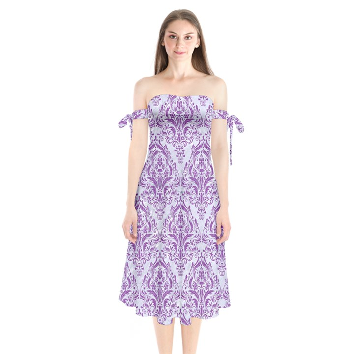 DAMASK1 WHITE MARBLE & PURPLE DENIM (R) Shoulder Tie Bardot Midi Dress