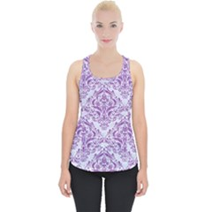 Damask1 White Marble & Purple Denim (r) Piece Up Tank Top