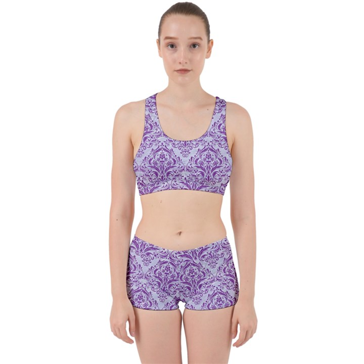 DAMASK1 WHITE MARBLE & PURPLE DENIM (R) Work It Out Gym Set