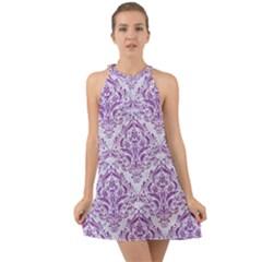 Damask1 White Marble & Purple Denim (r) Halter Tie Back Chiffon Dress