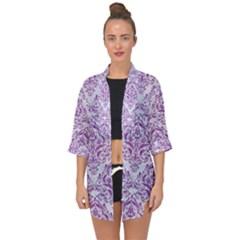 Damask1 White Marble & Purple Denim (r) Open Front Chiffon Kimono