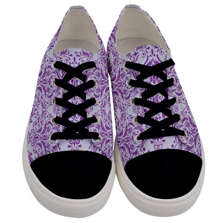 DAMASK1 WHITE MARBLE & PURPLE DENIM (R) Men s Low Top Canvas Sneakers