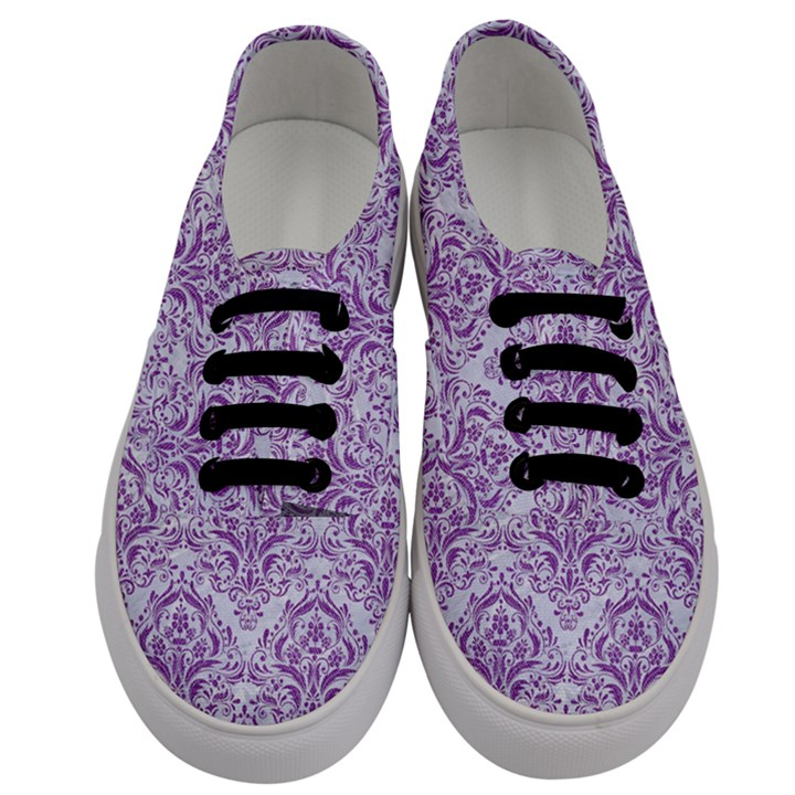 DAMASK1 WHITE MARBLE & PURPLE DENIM (R) Men s Classic Low Top Sneakers