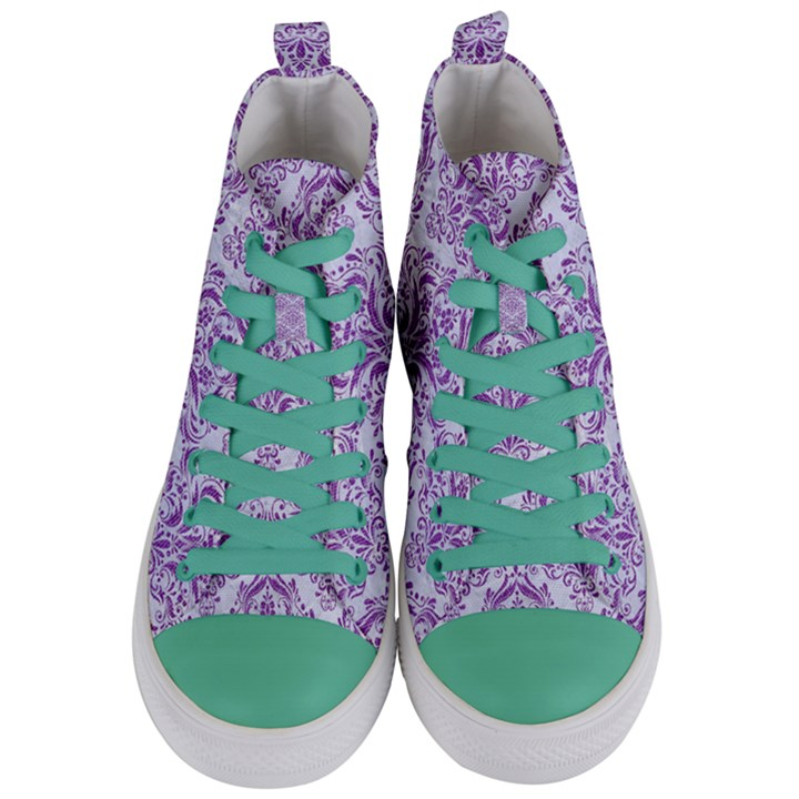DAMASK1 WHITE MARBLE & PURPLE DENIM (R) Women s Mid-Top Canvas Sneakers
