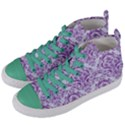 DAMASK1 WHITE MARBLE & PURPLE DENIM (R) Women s Mid-Top Canvas Sneakers View2