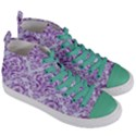 DAMASK1 WHITE MARBLE & PURPLE DENIM (R) Women s Mid-Top Canvas Sneakers View3