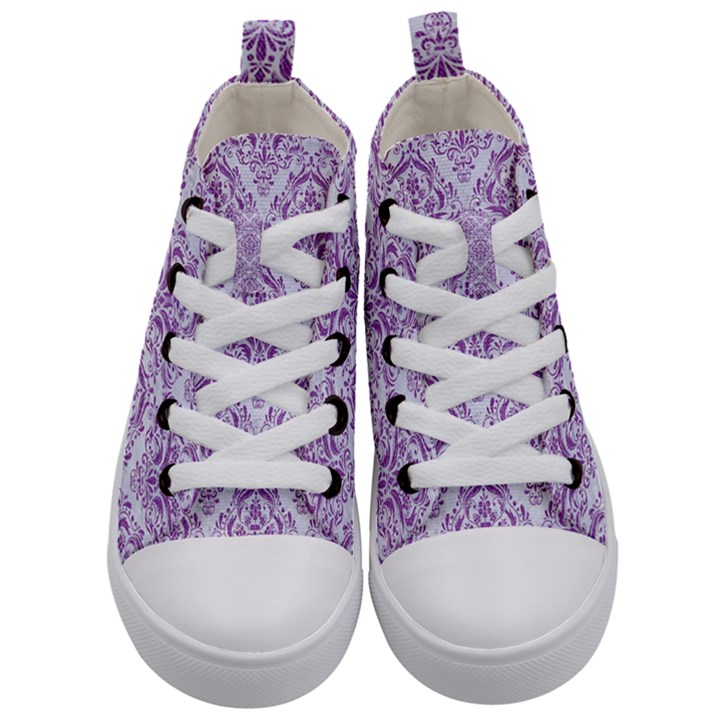 DAMASK1 WHITE MARBLE & PURPLE DENIM (R) Kid s Mid-Top Canvas Sneakers