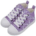 DAMASK1 WHITE MARBLE & PURPLE DENIM (R) Kid s Mid-Top Canvas Sneakers View2