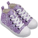 DAMASK1 WHITE MARBLE & PURPLE DENIM (R) Kid s Mid-Top Canvas Sneakers View3
