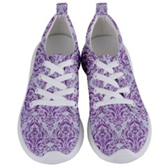 Damask1 White Marble & Purple Denim (r) Women s Lightweight Sports Shoes