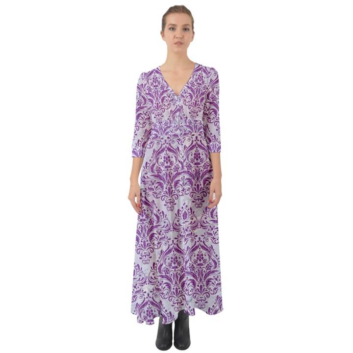 DAMASK1 WHITE MARBLE & PURPLE DENIM (R) Button Up Boho Maxi Dress