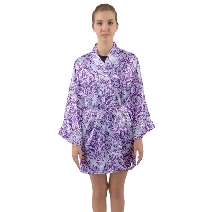 DAMASK1 WHITE MARBLE & PURPLE DENIM (R) Long Sleeve Kimono Robe