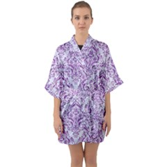 Damask1 White Marble & Purple Denim (r) Quarter Sleeve Kimono Robe