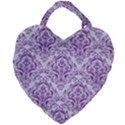 DAMASK1 WHITE MARBLE & PURPLE DENIM (R) Giant Heart Shaped Tote View1