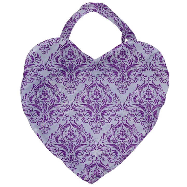 DAMASK1 WHITE MARBLE & PURPLE DENIM (R) Giant Heart Shaped Tote