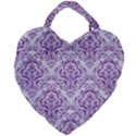DAMASK1 WHITE MARBLE & PURPLE DENIM (R) Giant Heart Shaped Tote View2