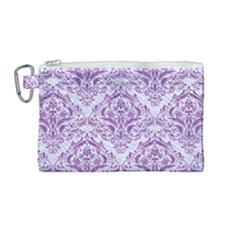 DAMASK1 WHITE MARBLE & PURPLE DENIM (R) Canvas Cosmetic Bag (Medium)