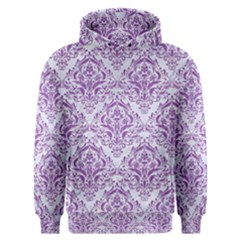 Damask1 White Marble & Purple Denim (r) Men s Overhead Hoodie