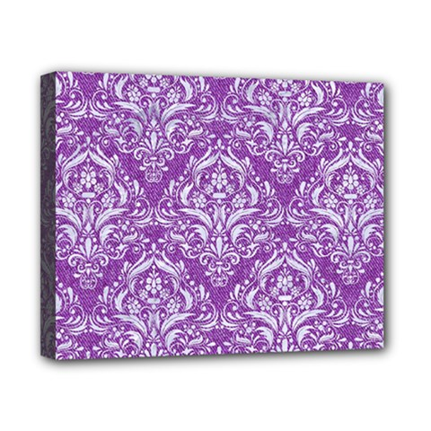 Damask1 White Marble & Purple Denim Canvas 10  X 8