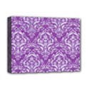 DAMASK1 WHITE MARBLE & PURPLE DENIM Deluxe Canvas 16  x 12   View1
