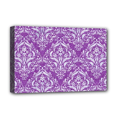 Damask1 White Marble & Purple Denim Deluxe Canvas 18  X 12