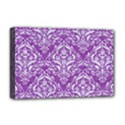 DAMASK1 WHITE MARBLE & PURPLE DENIM Deluxe Canvas 18  x 12   View1