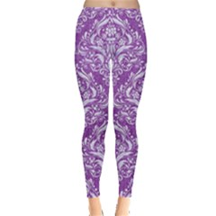 Damask1 White Marble & Purple Denim Leggings  by trendistuff