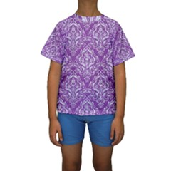 Damask1 White Marble & Purple Denim Kids  Short Sleeve Swimwear