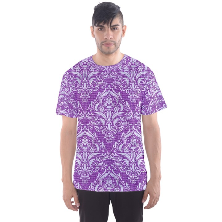 DAMASK1 WHITE MARBLE & PURPLE DENIM Men s Sports Mesh Tee
