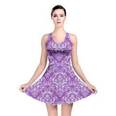 Damask1 White Marble & Purple Denim Reversible Skater Dress
