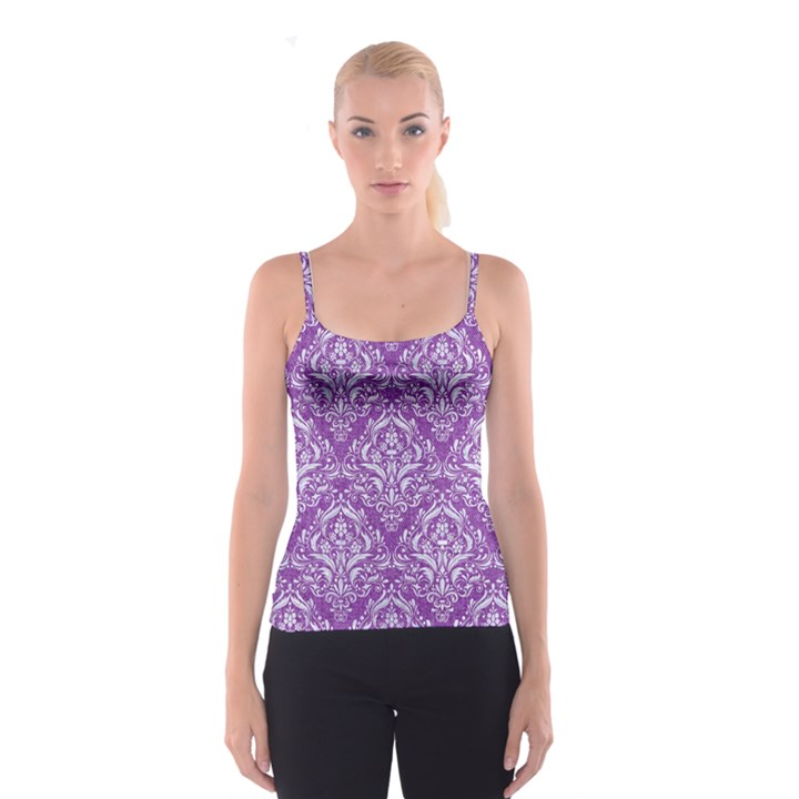 DAMASK1 WHITE MARBLE & PURPLE DENIM Spaghetti Strap Top
