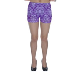 Damask1 White Marble & Purple Denim Skinny Shorts