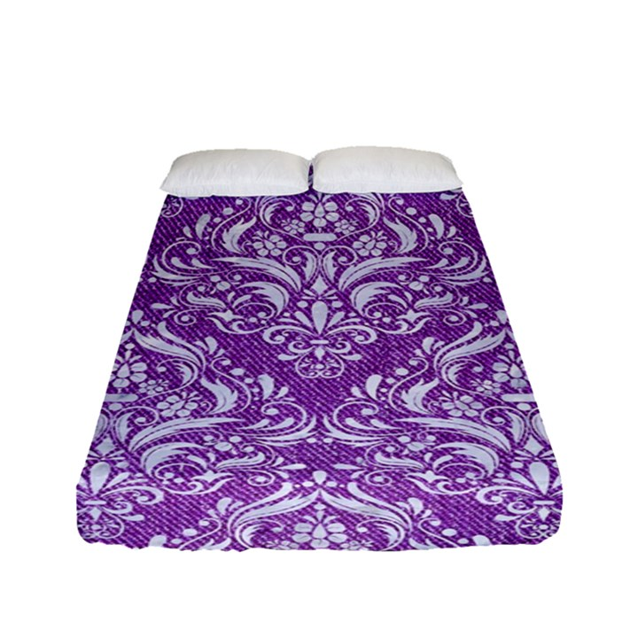 DAMASK1 WHITE MARBLE & PURPLE DENIM Fitted Sheet (Full/ Double Size)