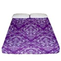 DAMASK1 WHITE MARBLE & PURPLE DENIM Fitted Sheet (California King Size) View1