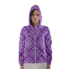 Damask1 White Marble & Purple Denim Hooded Wind Breaker (women)