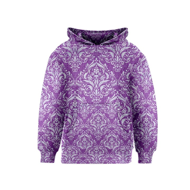 DAMASK1 WHITE MARBLE & PURPLE DENIM Kids  Pullover Hoodie