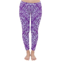 Damask1 White Marble & Purple Denim Classic Winter Leggings