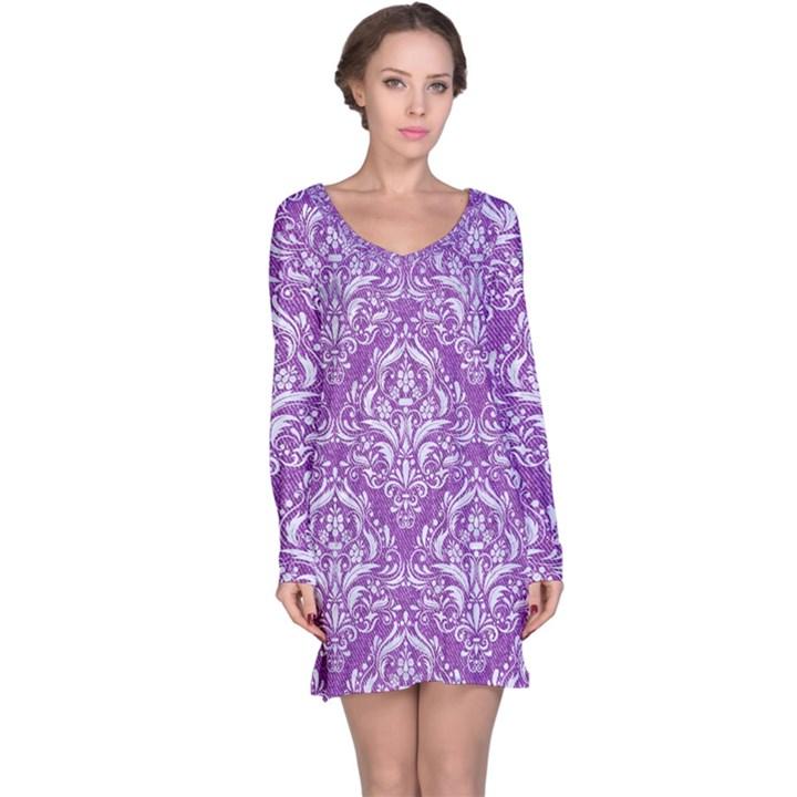 DAMASK1 WHITE MARBLE & PURPLE DENIM Long Sleeve Nightdress