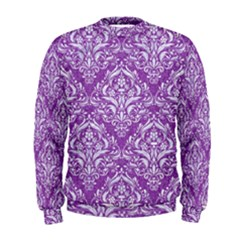 Damask1 White Marble & Purple Denim Men s Sweatshirt