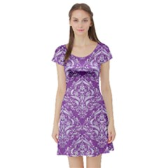 Damask1 White Marble & Purple Denim Short Sleeve Skater Dress by trendistuff
