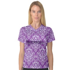 Damask1 White Marble & Purple Denim V Neck Sport Mesh Tee