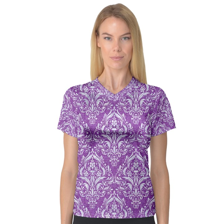 DAMASK1 WHITE MARBLE & PURPLE DENIM V-Neck Sport Mesh Tee