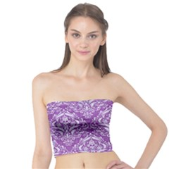 Damask1 White Marble & Purple Denim Tube Top by trendistuff