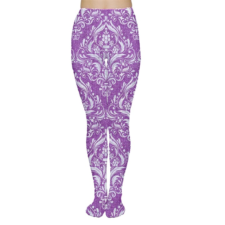DAMASK1 WHITE MARBLE & PURPLE DENIM Women s Tights