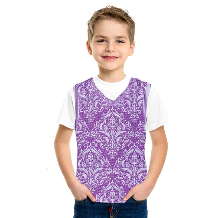 DAMASK1 WHITE MARBLE & PURPLE DENIM Kids  SportsWear
