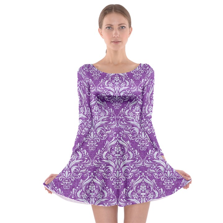 DAMASK1 WHITE MARBLE & PURPLE DENIM Long Sleeve Skater Dress