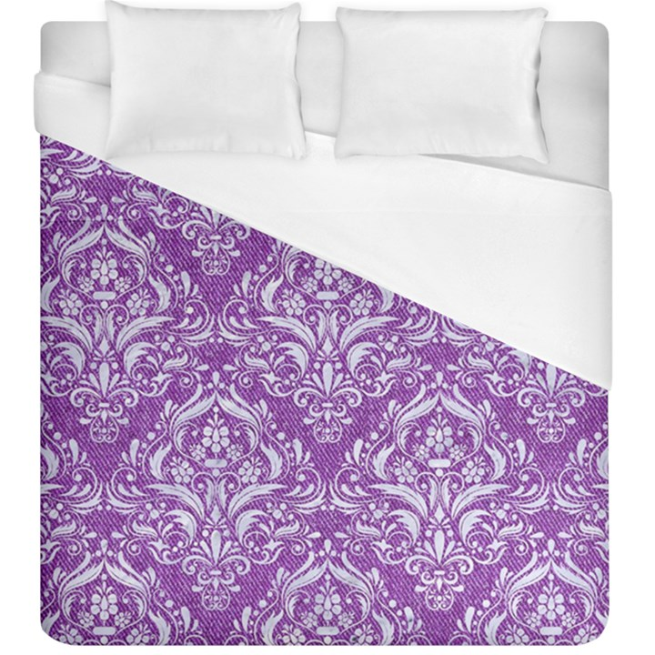 DAMASK1 WHITE MARBLE & PURPLE DENIM Duvet Cover (King Size)