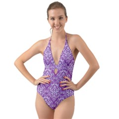 Damask1 White Marble & Purple Denim Halter Cut Out One Piece Swimsuit