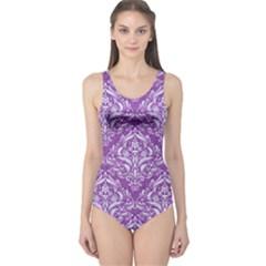 Damask1 White Marble & Purple Denim One Piece Swimsuit