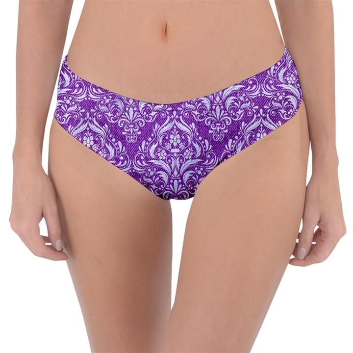 DAMASK1 WHITE MARBLE & PURPLE DENIM Reversible Classic Bikini Bottoms